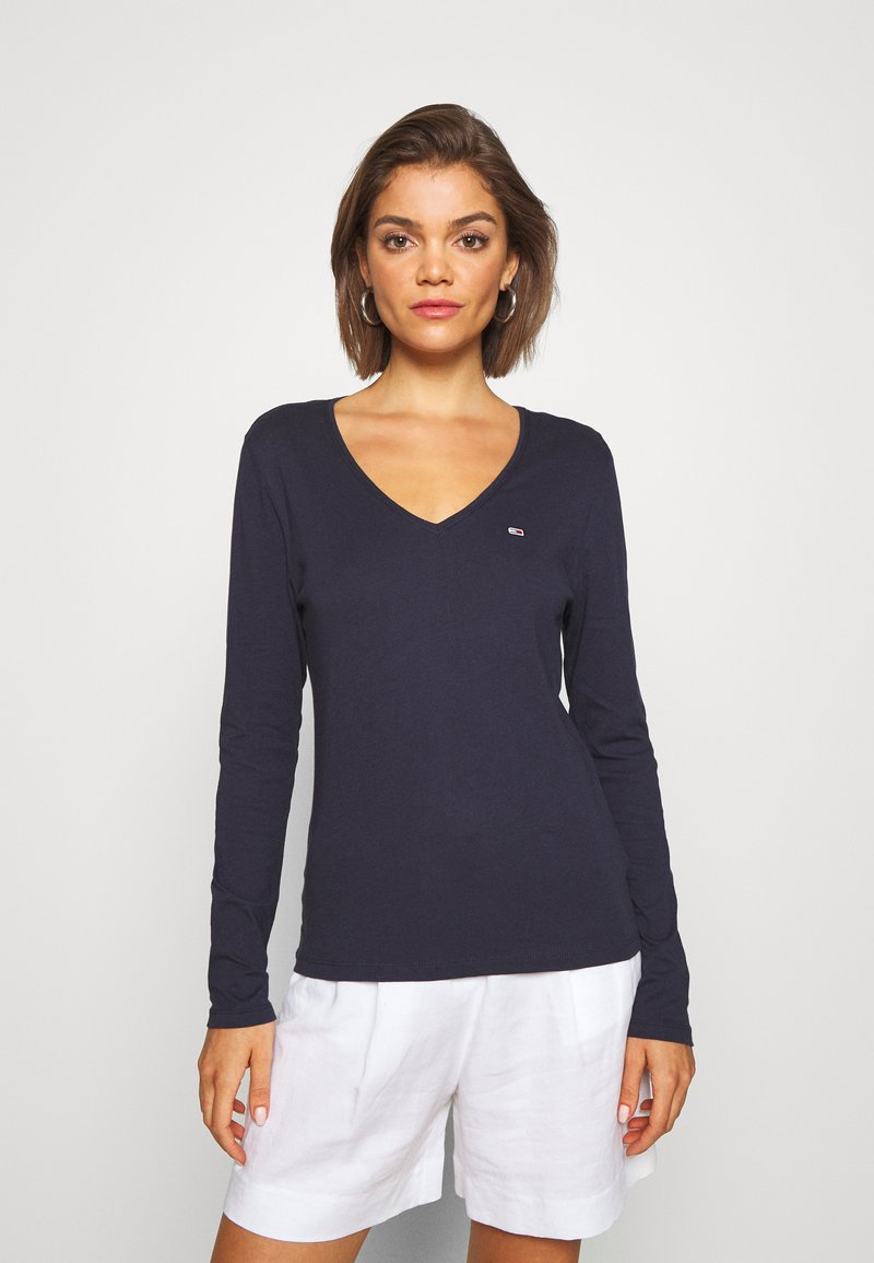 Tommy Jeans - V NECK LONGSLEEVE - T-shirt à manches longues - twilight navy