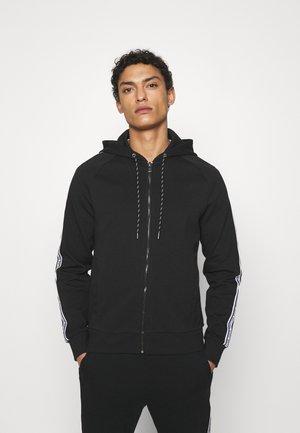 BLOCKED LOGO HOODIE - Zip-up sweatshirt - black