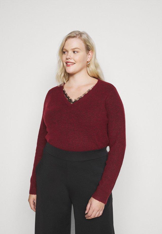VMIVA V NECK - Sweter - cabernet/melange