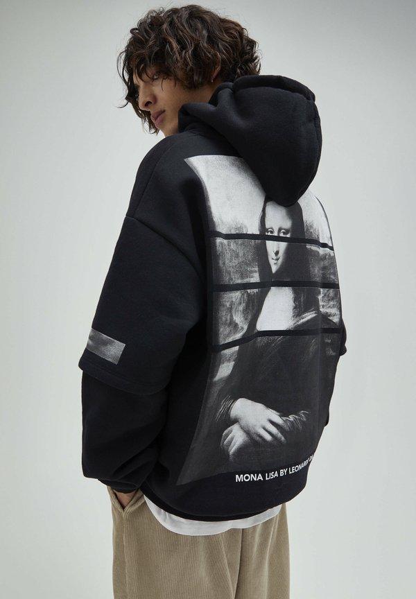 PULL&BEAR Bluza z kapturem - mottled black/czarny melanż Odzież Męska KBCV