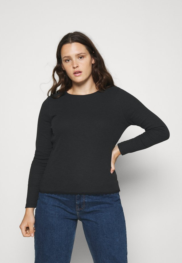 ROUND NECKLINE AND LONG SLEEVES - Long sleeved top - black