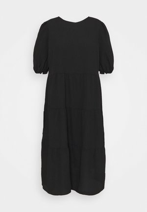 TEXTURE PUFF TIER - Day dress - black