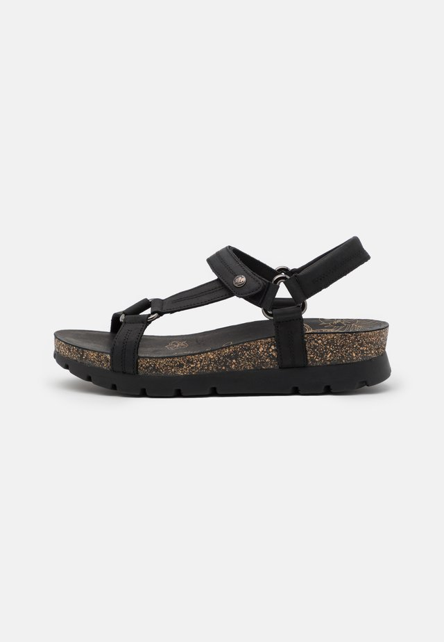 SANDRA BASICS GRASS - Plateausandaler - black