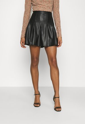 PLEATED MINI SKIRT - Spódnica mini - black