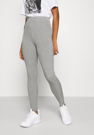 HIGH WAISTED RIBBED LEGGINGS - Leggings - Trousers - mottled grey