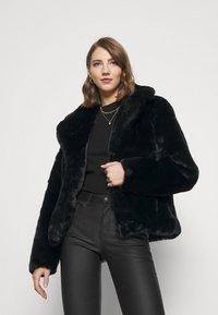 Missguided - SHORT COLLAR COAT - Winter jacket - black - 0