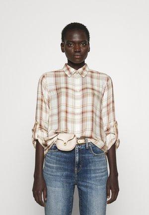 KAWENA LONG SLEEVE SHIRT - Button-down blouse - tan/cream multi