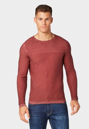 WASHED STRUCTURED SWEATER - Strickpullover - father's pipe red