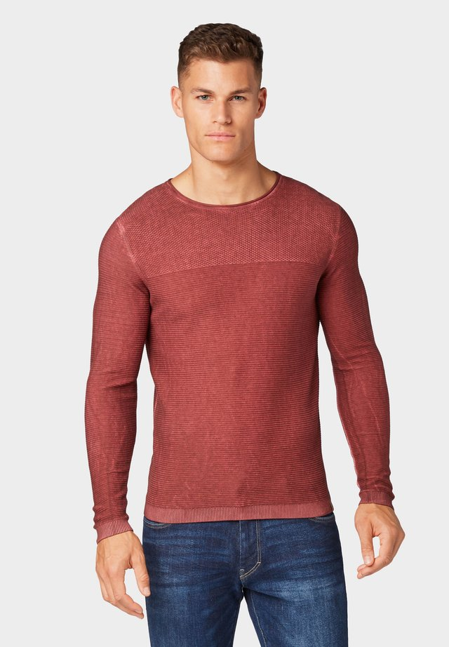 WASHED STRUCTURED SWEATER - Jumper - father's pipe red