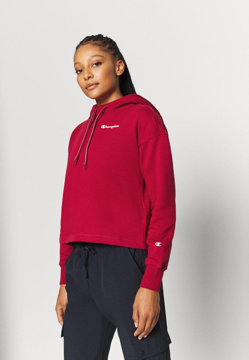 Champion - HOODED CROP LEGACY - Bluza z kapturem - dark red