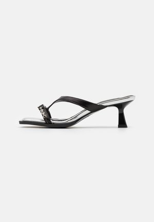 PANACHE CHAIN OPEN - Heeled mules - black/silver