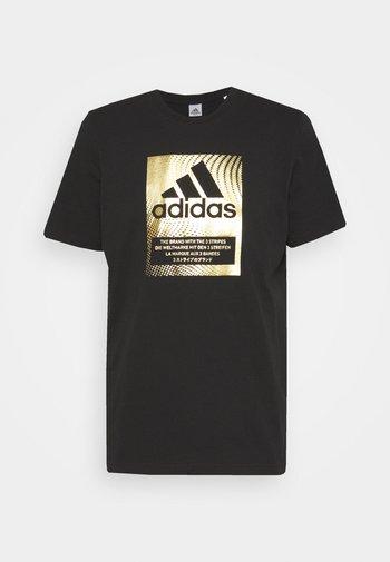 Print T-shirt - black/gold metallic