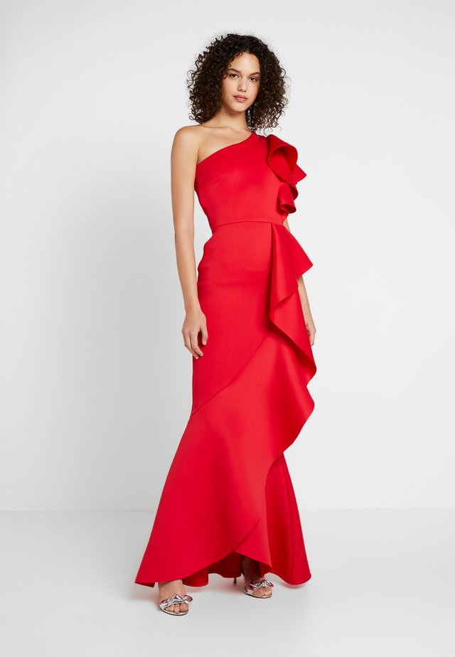LABEL ONE SHOUDER DRESS WITH FRILL - Gallakjole - red