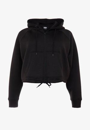 LADIES OVERSIZED SHORT RAGLAN ZIP HOODY - Zip-up hoodie - black