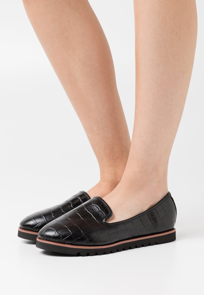 Dune London WIDE FIT - WIDE FIT GALLEON - Slip-ons - black