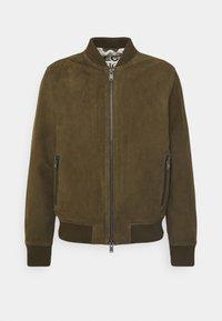 ICONIC - Leather jacket - olive night