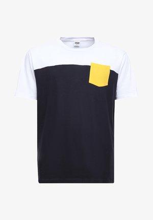 TONE POCKET TEE - T-shirt basic - navy/ white/ chromeyellow