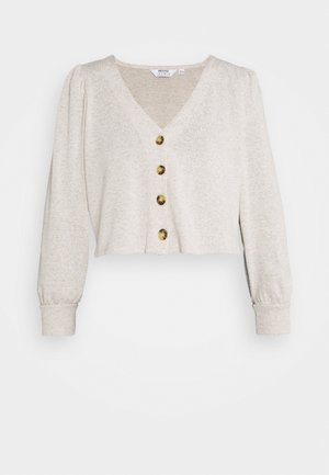 PUFF SLEEVE BRUSHED CARDIGAN - Gilet - oatmeal