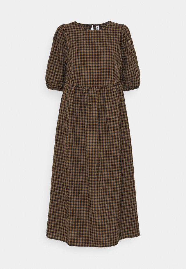 ONLYARITZA CHECK CALF DRESS - Maxi dress - tigers eye