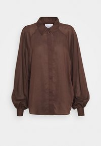 AYONESS SLEEVE - Button-down blouse - chocolate