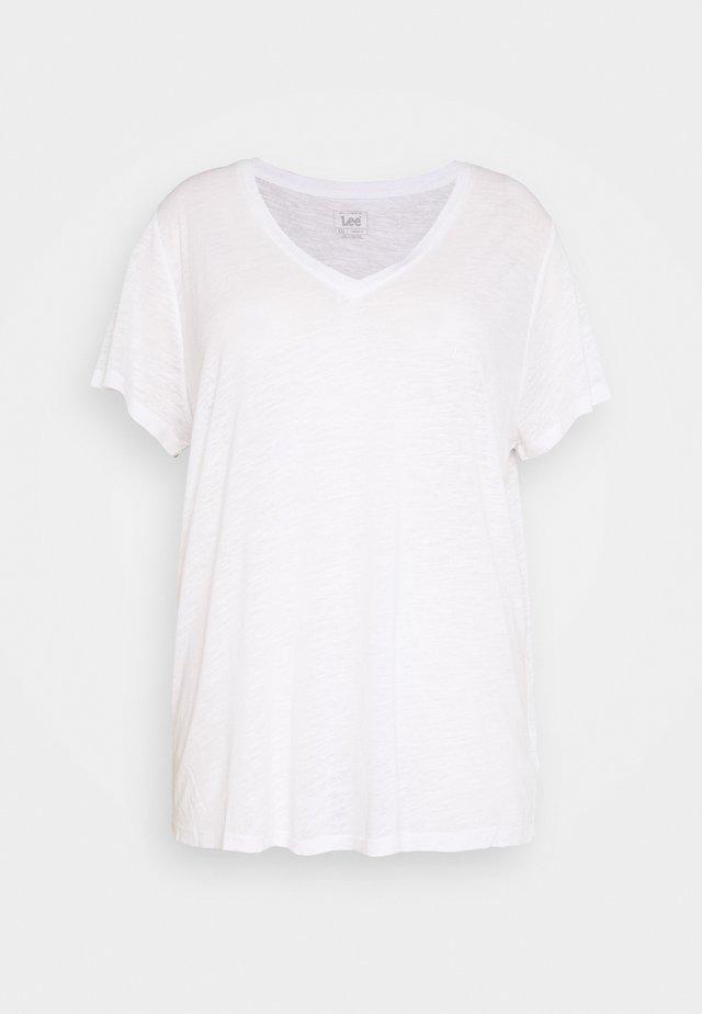 V NECK TEE - T-Shirt print - bright white