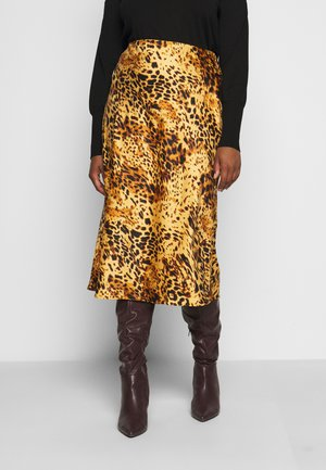 LEOPARD PRINT MIDI SKIRT - Pencil skirt - tan/black