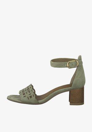High heeled sandals - lt. olive