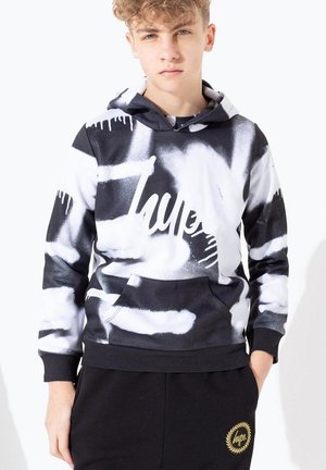 BLURRED MONO SPRAY - Hoodie - black/white
