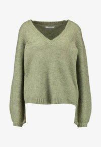 Pieces - PCJILLA V-NECK - Strikkegenser - deep lichen green - 5