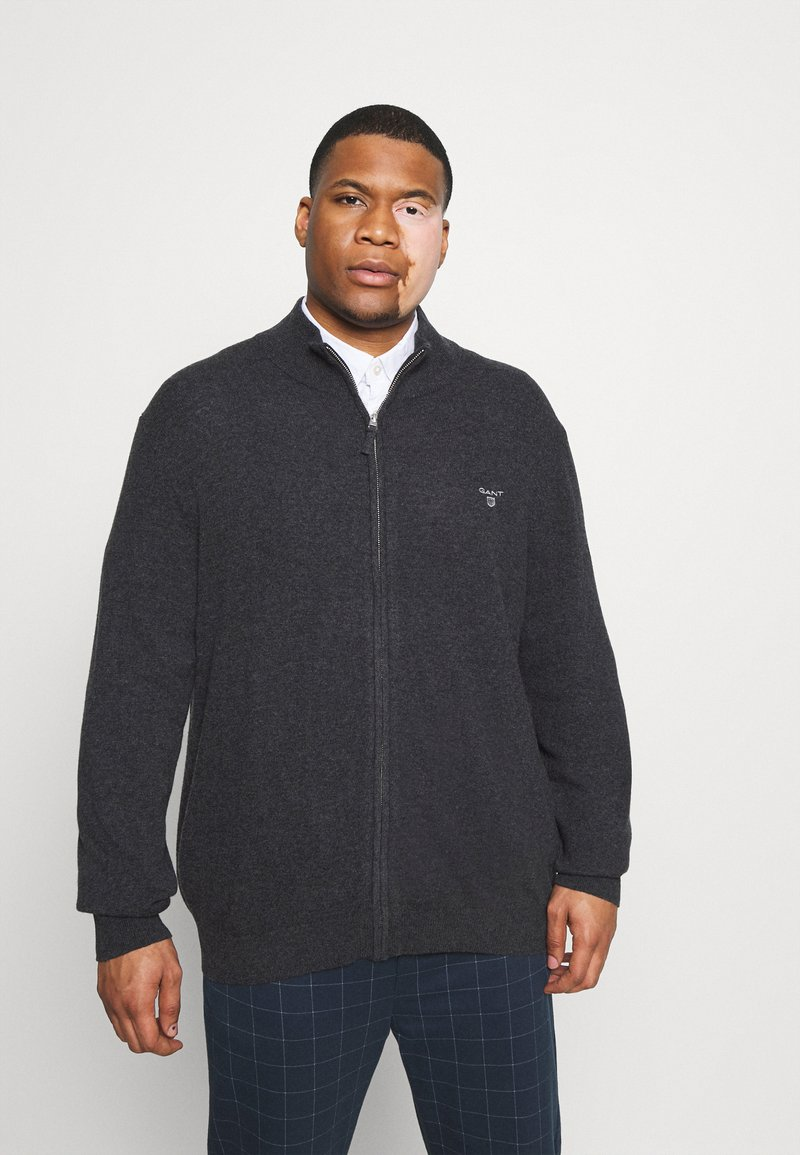 GANT - PLUS EXTRAFINE ZIP CARDIGAN  - Kofta - antracit melange