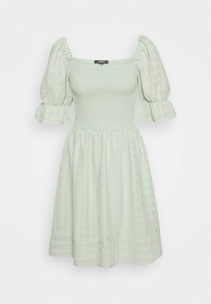 TEXTURED SHIRRED MNI DRESS - Day dress - mint