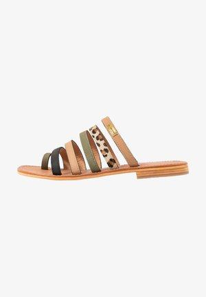 BRIQUET - T-bar sandals - kaki/multicolor