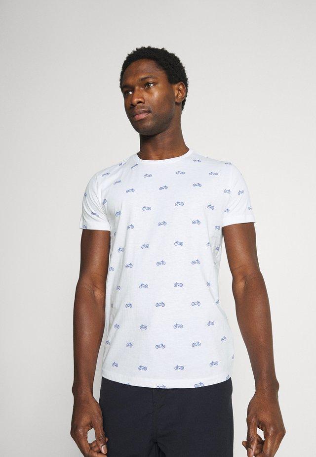 T-shirt z nadrukiem - bright white / blue