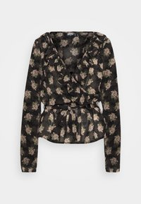 Missguided Tall - RUFFLE LONG SLEEVE WRAP FLORAL PRINT - Blouse - black - 0