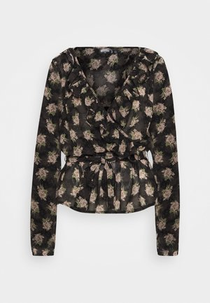 RUFFLE LONG SLEEVE WRAP FLORAL PRINT - Blůza - black