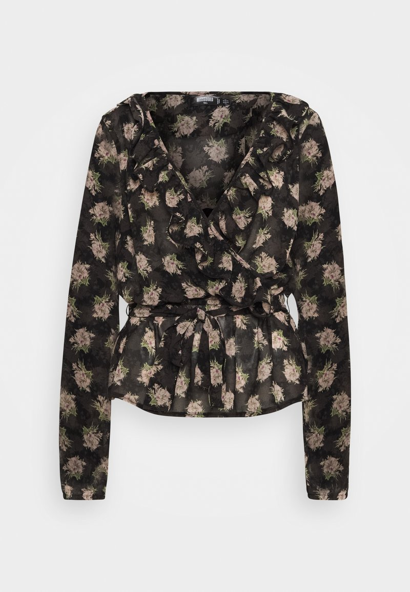 Missguided Tall - RUFFLE LONG SLEEVE WRAP FLORAL PRINT - Blouse - black