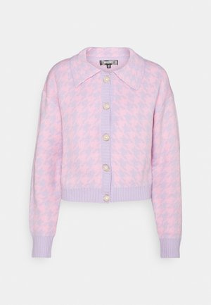 PEARL HOUNDSTOOTH COLLAR CARDIGAN - Cardigan - pink