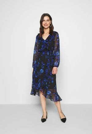 FLORAL RUFFLE MIDI DRESS - Korte jurk - black/blue