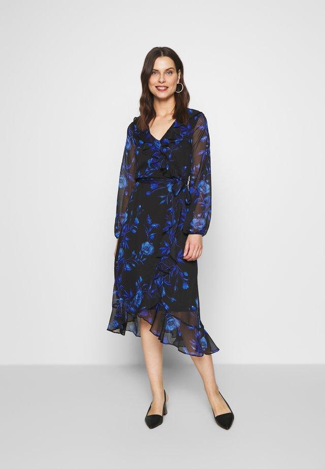 FLORAL RUFFLE MIDI DRESS - Robe d'été - black/blue