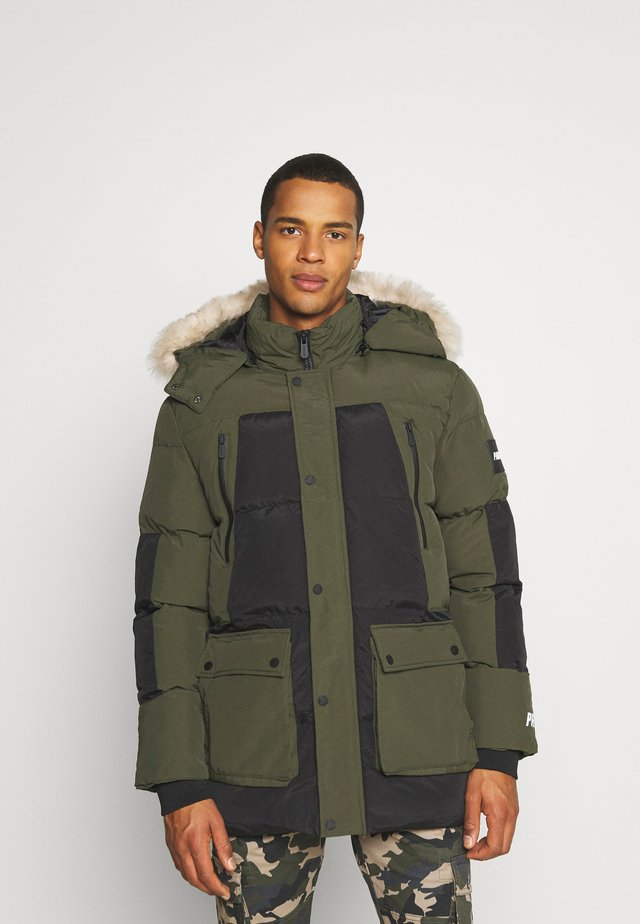 ASTER BLOCK JACKET - Parkas - black/khaki