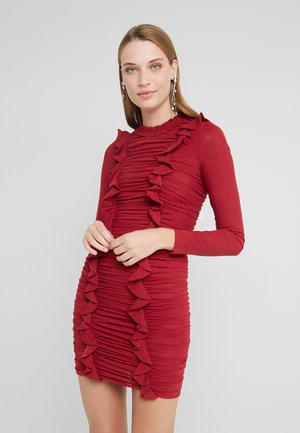 RUFFLE MINI DRESS - Shift dress - deep red