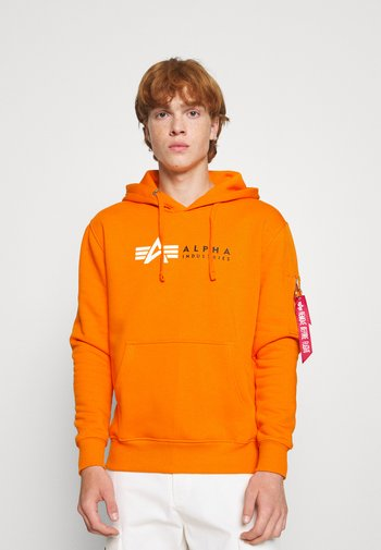 LABEL HOODY - Sweatshirt - orange