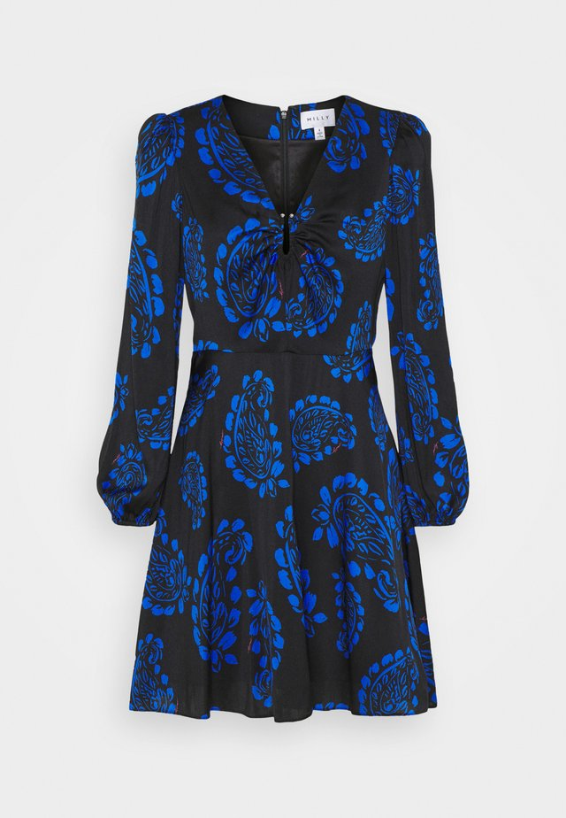 TOSSED PAISLEY DRESS - Sukienka koktajlowa - black/azure