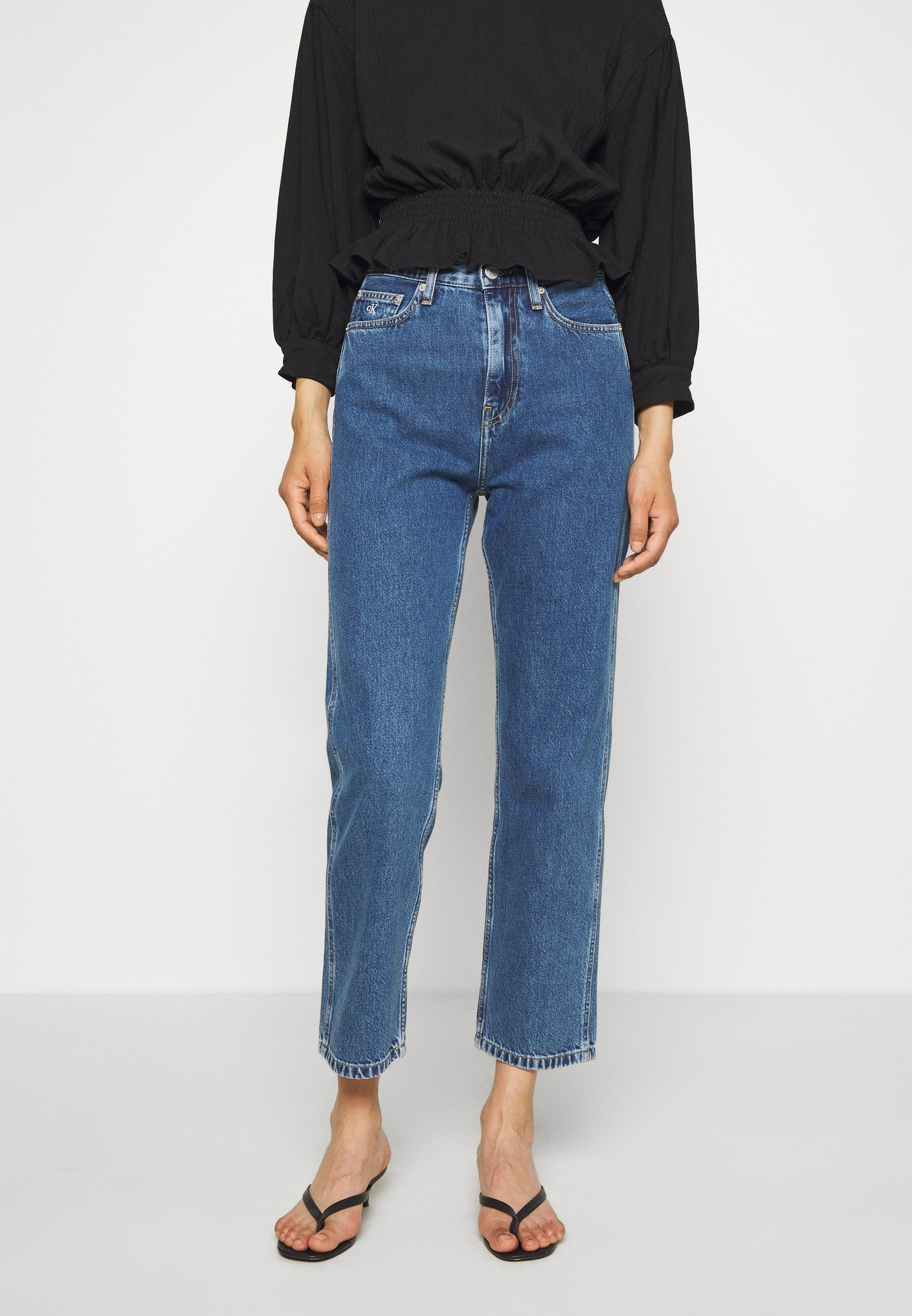 Calvin Klein Jeans HIGH RISE STRAIGHT ANKLE - Jean droit - ab076 icn light blue - Jeans Femme 4CQNy