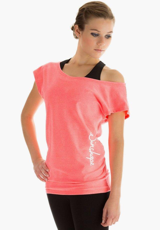 Print T-shirt - neon coral