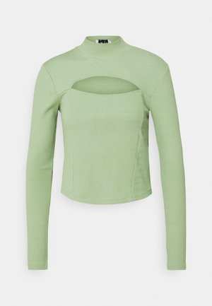 CUT OUT CHEST DETAIL  - Long sleeved top - green