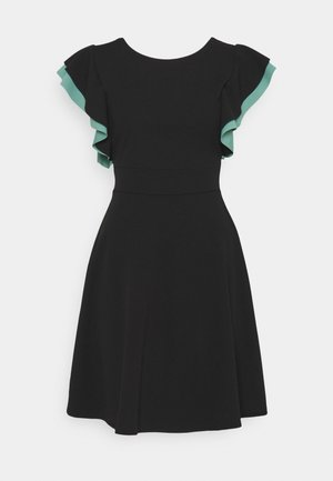 BRAELYNN CONTRAST SLEEVE SKATER DRESS - Jersey dress - black/sage green