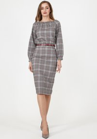 Madam-T - Shift dress - grau/ weinrot - 1