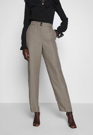 CHECK WIDE LEG - Trousers - camel