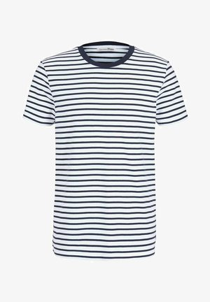Print T-shirt - navy white thin stripe